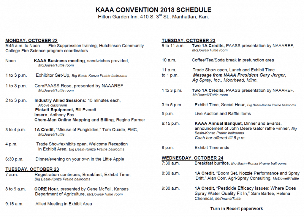 KAAA 2018 Convention Schedule