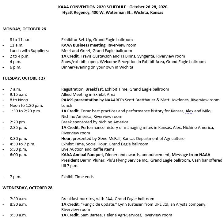 2020 Convention Schedule